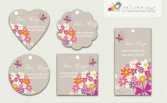 Kit Tags Etiquetas Bouquet Flores Mod05