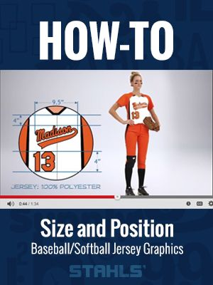 Not sure how to pick the right size graphics, letters, or numbers for sports uniforms? Unsure exactly where they go? Let us take the guess work out of creating baseball or softball jerseys. stahls.com or stahls.ca