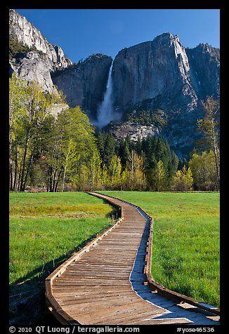 One word, MAJESTIC. Boardwalk and Yosemite Falls. Yosemite National Park, California, USA.
