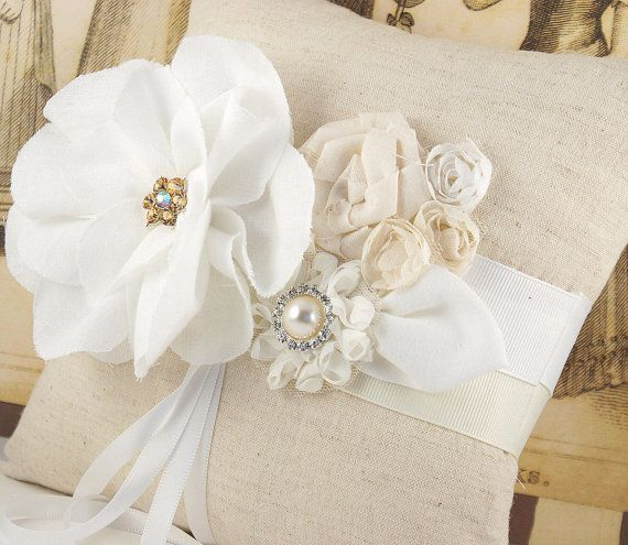 Bridal Ring Bearer Pillow Shabby Chic Rustic Wedding by SolBijou, $95.00