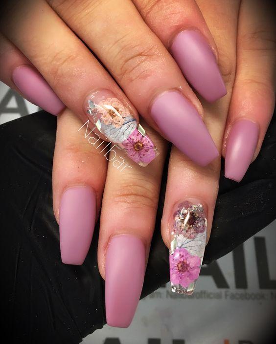 9772f0c026 40 Super Fabulous Dried Flower Nail Art Designs; flower nails; dry flower  nails; coffin nails; acrylic nails.