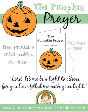 Free Pumpkin Prayer Printables Church Pinterest Sunday School