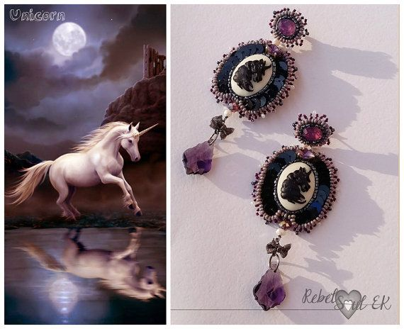 Long unicorn earrings bead embroidery fantasy by RebelSoulEK