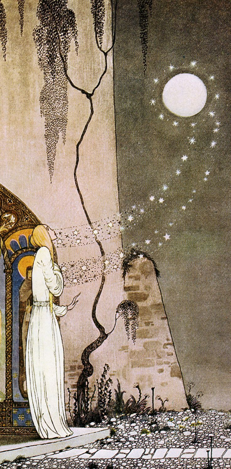 """Detail from """"Out Popped the Moon"""" by Kay Nielsen (Danish, 1886-1957)"""