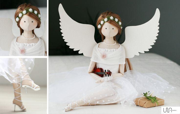 anioł ślubny rękodzieło angel handmade tilda prezent na ślub