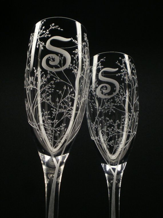 2 Custom Engraved Champagne Flutes 'Branches and Leaves' Monogram Initial Personalized Wedding