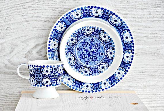 Vintage Cup Saucer Blue Ali Arabia Finland by SimplyLoveNordic