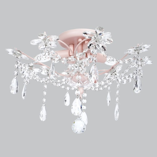 Kids ceiling flush mount chandelier crystal pink decor for Chandelier light for girls room