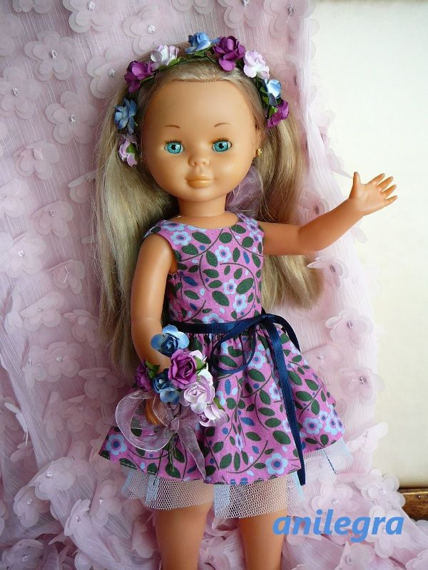 ANILEGRA COSE PARA NANCY: Azul /rosa vestido estampado para Nancy