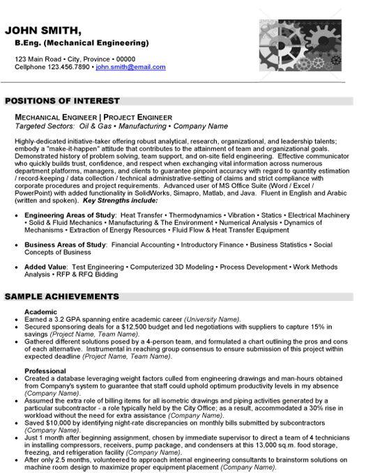 mechanical engineer sample cv