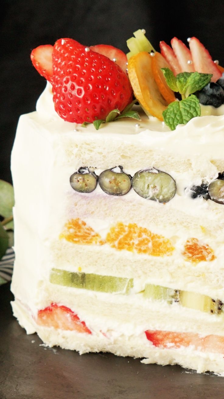 Bread slathered with sweet mascarpone and layered with berries, oranges and kiwi makes for a deliciously fruity treat.