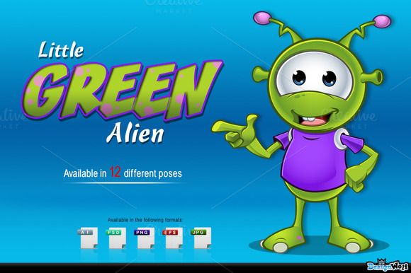 Check out Little Green Alien by DesignWolf on Creative Market
