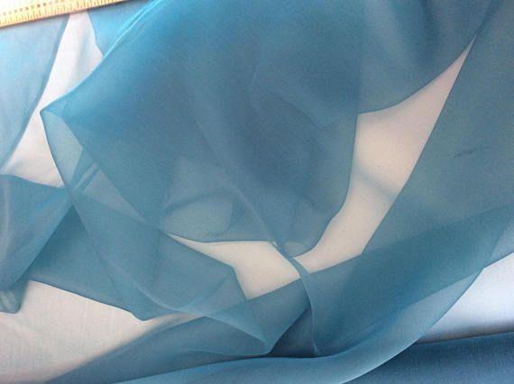 Organza de soie vendu par multiples de 25cm, couleur bleu turquoise