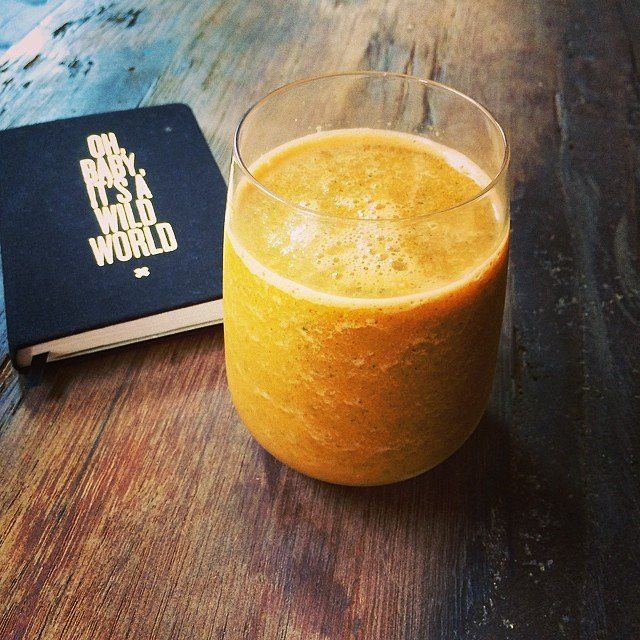 Tara Stiles Never Get Sick Smoothie! So good! 1 cup orange juice. Mint leaves. Fresh ginger. 1 carrot. Ice. OMG amazing. Cost less than $1 to make.