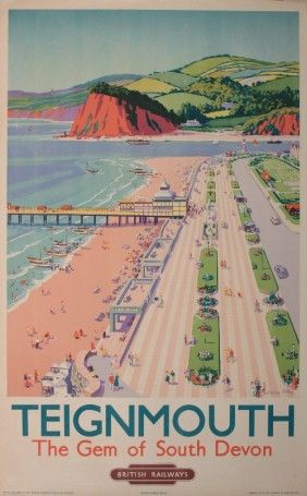 Teignmouth , South Devon U.K. Vintalge railway travel poster.  The lighthouse is very tiny in this poster.
