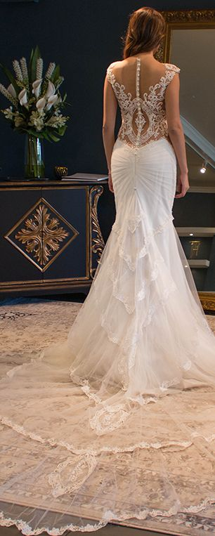 Beautiful low back with illusion open back and lace appliqued design Luxury Bridal Dresses- Galia Lahav Haute Couture