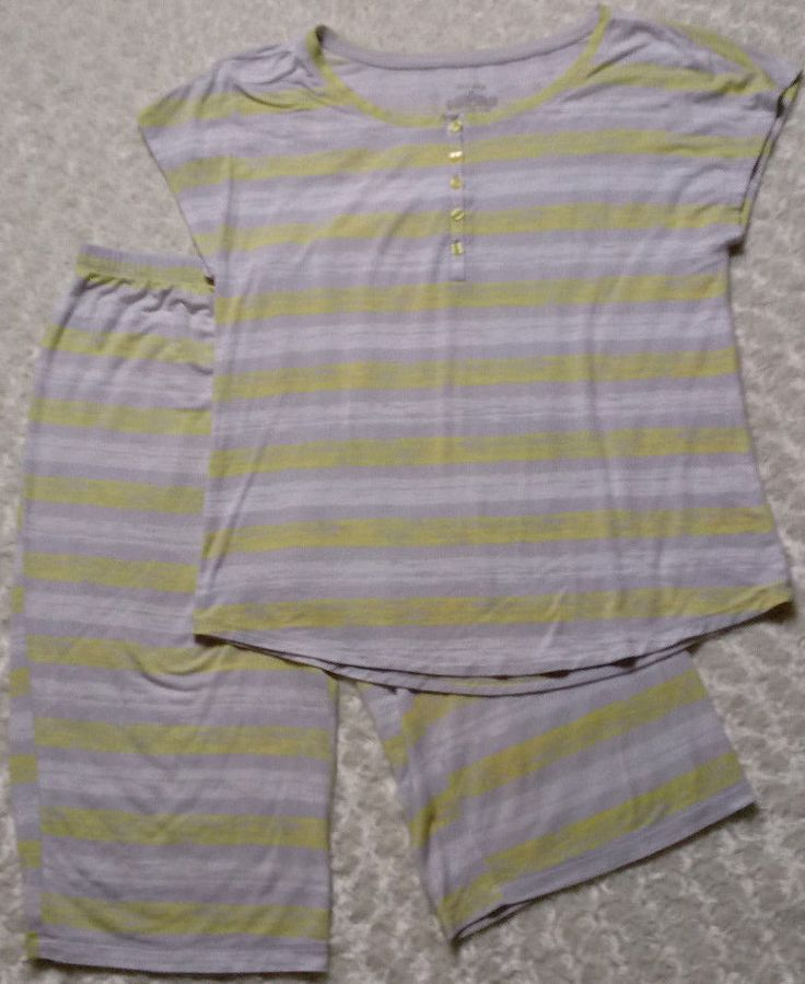 Sleep Sense 2 pc Pajama/Lounge Set S Yellow/Gray Stripe Long Shorts & Top Soft! #SleepSense