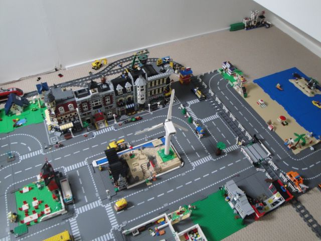 complete lego city layout with beach trains and streets beautiful