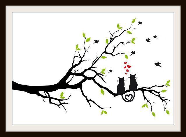 Cats In Love On A Tree Cross Stitch Pattern - Cross Stitch Patterns