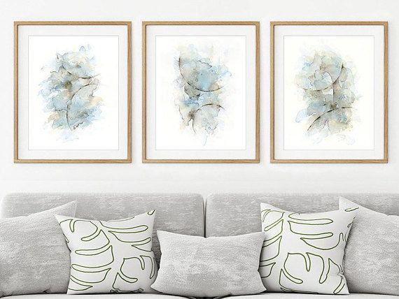 Art Print Set Of 3 Abstract Watercolor Paintings Matching Etsy Artwork For Living Room Bedroom Wall Art Minimalist Wall Art