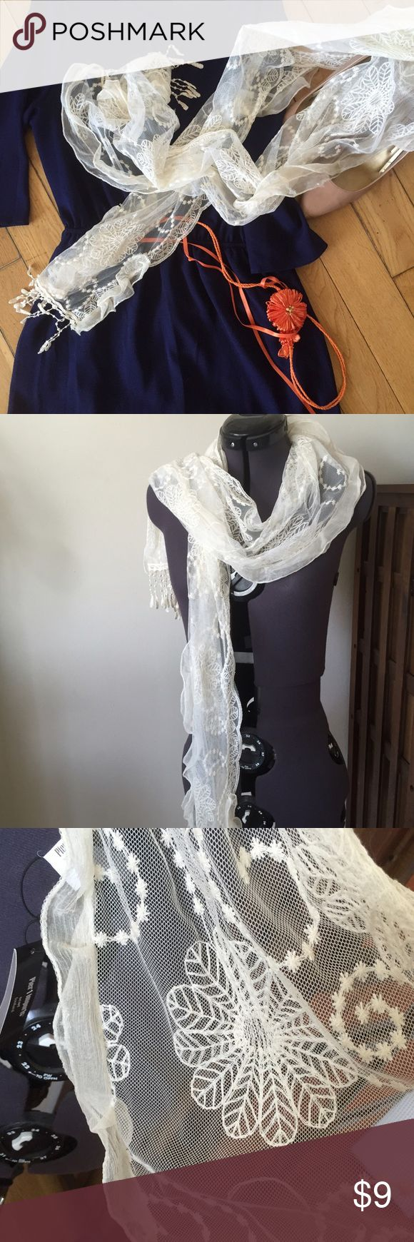 "Lace Floral-Pattern Scarf This cream scarf has small tassels dangling from both ends, and is a wonderful light scarf for transitioning into fall! Randomly, it's from Pier 1 Imports . Dimensions are 12"" x 66"". Pier 1 Accessories Scarves & Wraps"