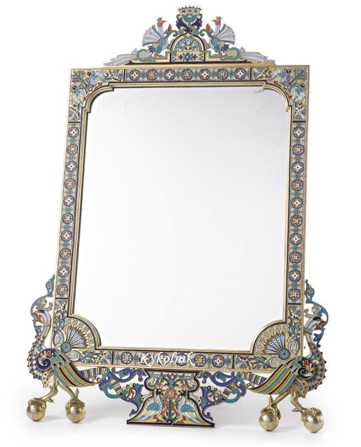 Cloisonné framed mirror.