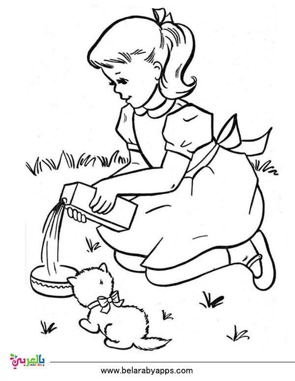 رسومات عن الرفق بالحيوان للتلوين جاهزة للطباعة للاطفال بالعربي نتعلم Free Kids Coloring Pages Dog Coloring Page Coloring Pages