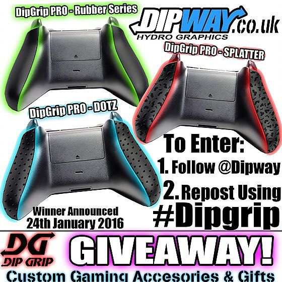 GIVEAWAY TIME!  Free pair of DipGrip Pro for Xbox one in your choice of design! To enter:  1. FOLLOW @dipway  2. REPOST this image with #Dipgrip  It's that simple.  Will Post / Ship worldwide!  Entries close on midnight 24th January 2016. (UK time) winner will be announced within 24 hours.  DIPGRIP PRO - Simple controller mod (NO TOOLS NEEDED!) that greatly improves grip and reduces sweat whilst gaming hard.  Winner will be chosen at random using either a random number generator or a random…