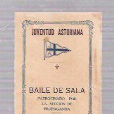 CARNET DE BAILE DE SALSA. JUVENTUD ASTURIANA. HABANA, 1922.