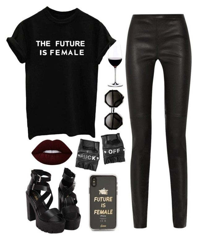 """""""Без названия #64"""" by katherine-elizabeth-mcklain ❤ liked on Polyvore featuring Proenza Schouler, Lime Crime, Sonix, Funk Plus, Riedel, outfit, girlpower and polyvoreset"""