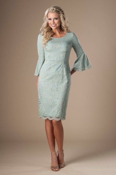 b06faf419e0 modest bridesmaid dresses in utah with lace and full belle sleeve ...
