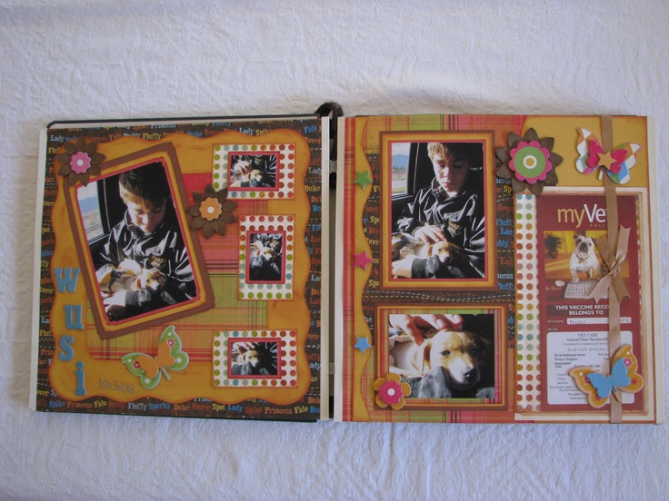 The Vet card has been made part of the scrapbook page on the Left hand side