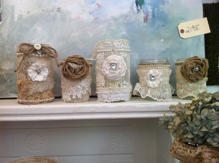 Smaller Decadent burlap mason jars. $20.00, via Etsy.