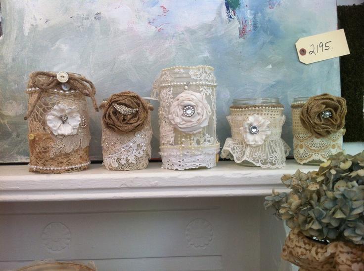 Smaller Decadent burlap mason jars. $20.00, via Etsy.