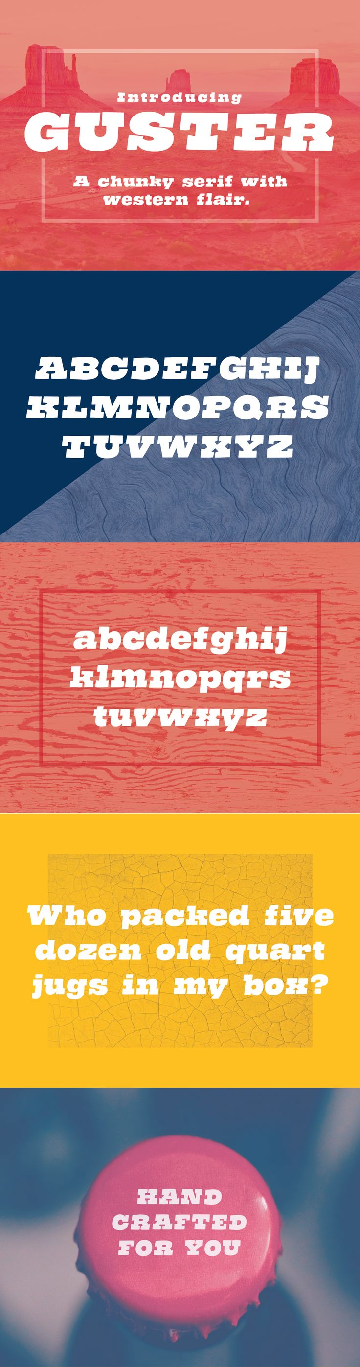 Guster - a modern, western display font. This chunky font is inspired by the wild west and cartoons. It has a funky flair and will pair with most modern sans serifs.