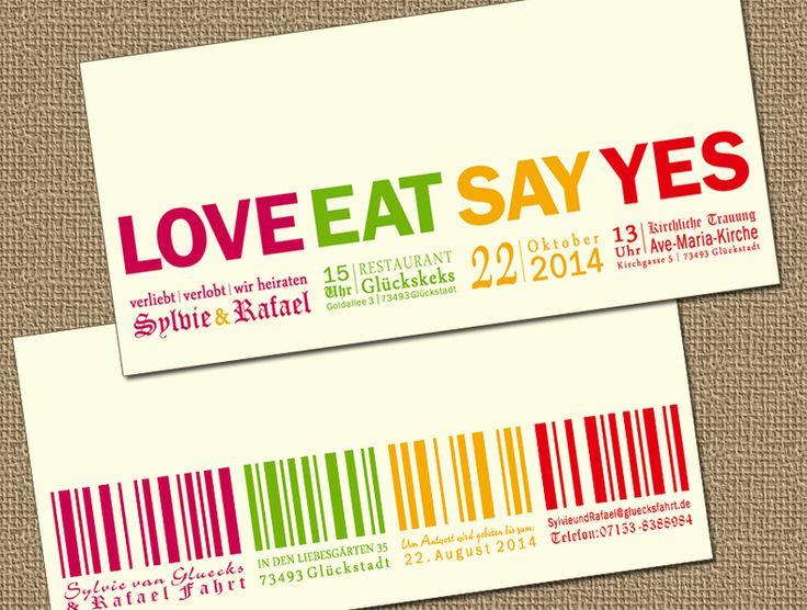 """♀♥♂7128 Love Eat Say Yes ■ Love Code Einladung Die *""""Liebes-Code""""* - *[ _Einladungskarte_ ]* *[ Design ♀♥♂7128 ]* für Heiratswillige, die nicht..."""