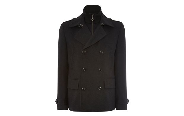 """Casual Heavy Jacket. """"For an easy way to work the layered look, choose this casual jacket. A zip-up layer gives relaxed appeal to this double-breasted style."""""""