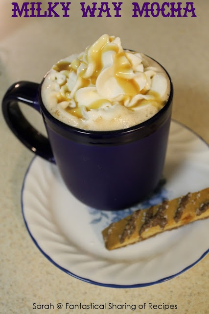 Milky Way Mocha - amp up your regular cup of coffee with caramel, chocolate, and whipped cream. #coffee #mocha #caramel