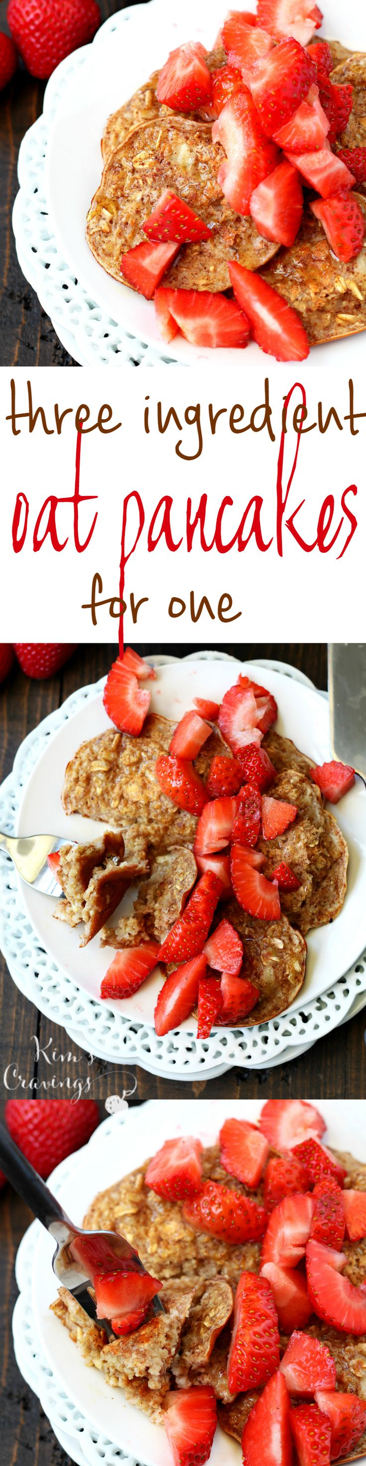 Three Ingredient Oat Pancakes for One- the perfect quick, easy, satisfying breakfast for one that's super scrumptious too! (gluten & dairy-free)