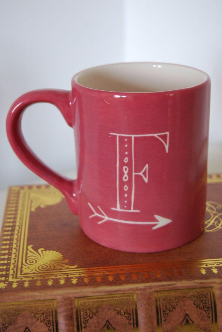 Personalized mugs cheap uk - Hand Painted Sgraffito Personalised Mug Decorative Letter Initial Mug Personalised Mug By Lovemilliecrafts On