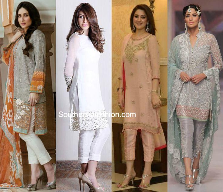 Salwar suits with the cigarette pants, Salwar Kameez with crop pants, cropped cigarette pants with kurtas, kurtis, tunics, kurta with crop pant