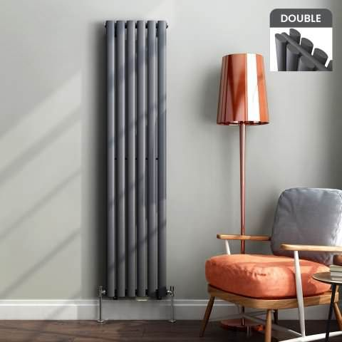 Ember Vertical Oval Tube Contemporary Gas Radiator in Anthracite 1600mm x 360mm - soak.com