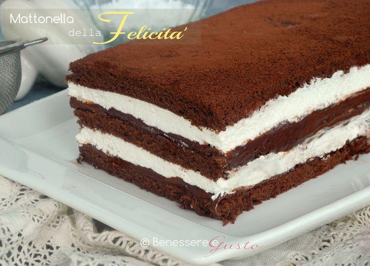 Mattonella della Felicità, Dessert con tre strati di Pasta biscotto al Cacao, farcito con Nutella e Panna, un tripudio di golosità, Dessert facile e veloce