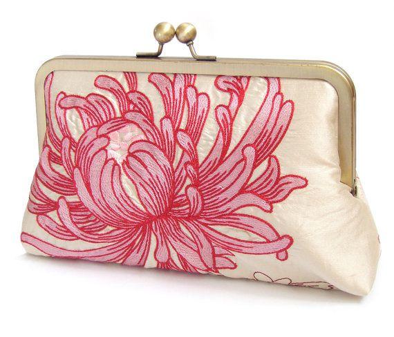 Embrayage sac sac à main en soie rose et Ivoire par RedRubyRose