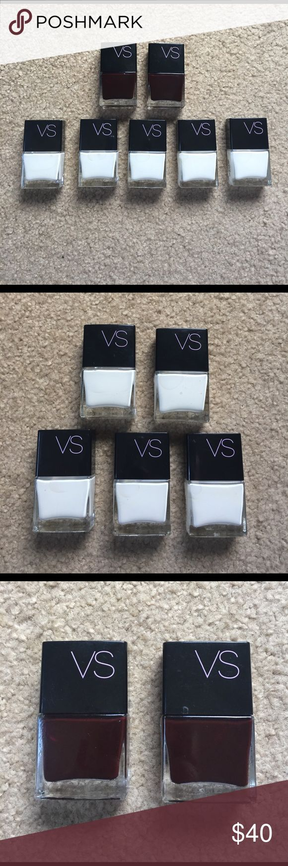 Victoria's Secret nail polish 8 VS nail polishes, 5 white and 3 burgundy, never used, 0.35 fl oz each *MOVING I have to get rid of all of this stuff. Feel free to submit offers and bundle for discounts!* Victoria's Secret Makeup
