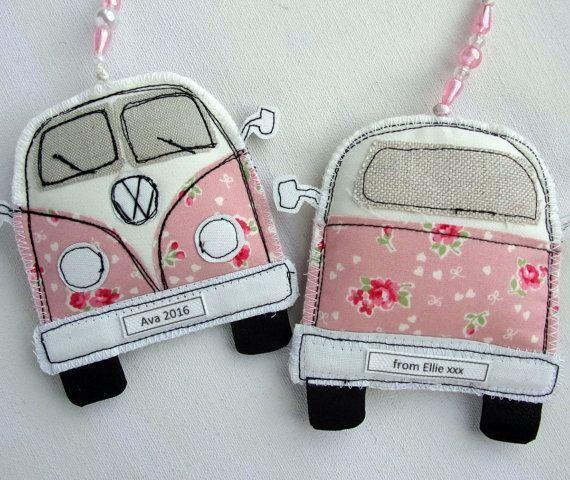 Cute Pink VW Camper Van Ornament. Volkswagen Bus by SwinkyDoo