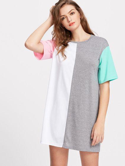 Vestido de mangas cortas en color block