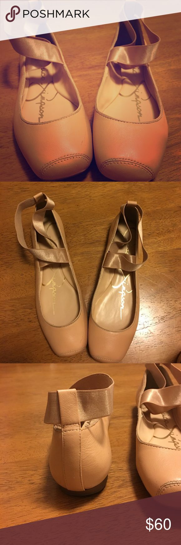 Jessica Simpson ballet flats Pink/nude ballet flats with cross straps. Super comfy and only worn once! Jessica Simpson Shoes Flats & Loafers