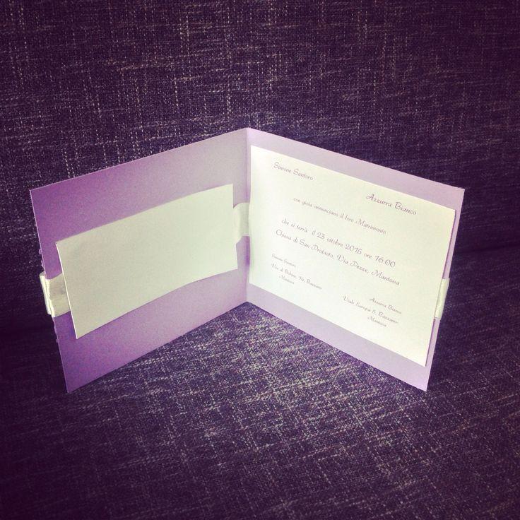 Interno partecipazione matrimonio lilla con strass realizzate da Antonella Amato wedding Planner Amiche della Sposa Diy wedding invitation elegant