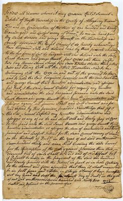MudBay Images: 1792 Farm Sale Document, Allegheny County, PA